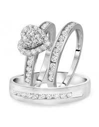 Wedding Ring Trio Sets by Halo Heart Trio Wedding Rings Trio Ring Sets