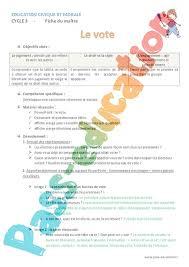 assesseur bureau de vote vote ce2 fiche de préparation pass education