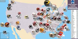 Clemson University Map Ncaa Division I Football Map The 58 Highest Drawing Teams 2007