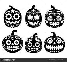 dia de los muertos decorations pumpkin vector desgin mexican sugar skull style dia de