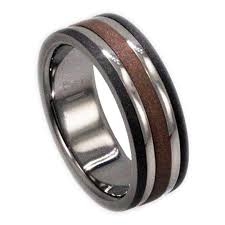 palladium rings titanium wedding band inlaid with gold and white gold
