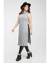 forever 21 plus size heathered high slit maxi dress in gray lyst