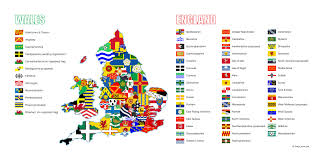 England Counties Map by English And Welsh County Flags Vexillology