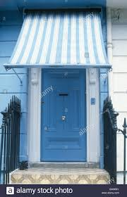 Awning Over Front Door Close Up Of Blue White Striped Awning Above Blue Front Door In