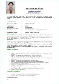 Resume Templates For Applications 13 Curriculum Vitae Sle Application Applicationsformat Info