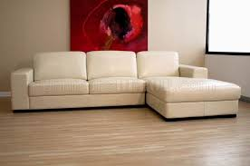 Ivory Leather Loveseat Sectional Sofa In Ivory Leather