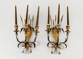 Ebth by Pair Of Black And Gold Candle Wall Sconces Ebth Black Wrought Iron