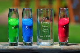 etched glass vase personalized our family 4pc etched wedding sand ceremony set for a family