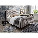 Tufted Sleigh Bed King Upholstered Sleigh Bed King 84 25 In L X 81 88 In