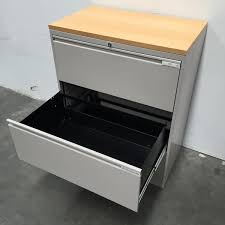 Inscape Office Furniture by Inscape Silver Metal 3 Drawer Office Lateral Filer With Wood Top