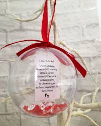 letter to little baby bump at christmas time hanging bauble