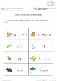 primaryleap co uk autumn missing vowels worksheet