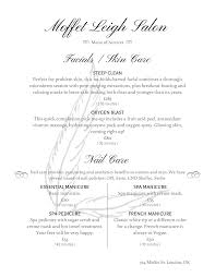 customizable menu templates salon menu templates from imenupro
