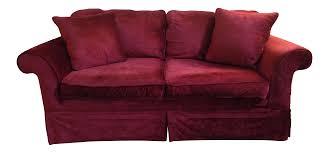 Red Loveseat Laura Ashley Red Velvet Loveseat Sofa Chairish
