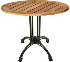 Cast Iron Bistro Table Teak Patio Table W Black Cast Iron Base