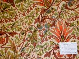Upholstery Fabric With Birds Linen Birds Of Paradise Color Rose Camel Fabric