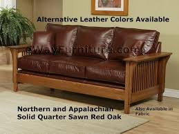 American Made Leather Sofas American Made Mission Style Rift And Quarter Sawn Oak Leather Sofa