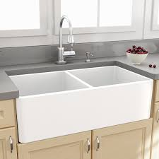 Cheap Kitchen Sink Faucets by Rustic White Porcelain Kitchen Sink With Curved Faucet And Tile