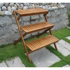 3 tier planter stand in teak wood for outdoor or indoor use