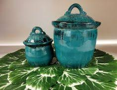 pottery kitchen canister sets teal kitchen canister set handmade pottery coffee and sugar