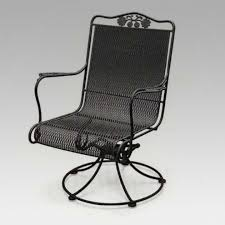 Black Iron Patio Chairs Wrought Iron High Back Swivel Rocker Patio Chairs With Curved Arms