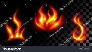 set three different tongues sparks flame stock vector 610841030