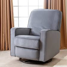 Fabric Recliner Armchair Abbyson Bella Steel Grey Fabric Swivel Glider Recliner Chair