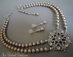 swarovski platinum necklace images Bridal pearl necklace in platinum taupe swarovski pearls with jpg