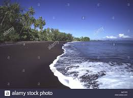 Black Sand Beaches by Matavai Black Sand Beach Tahiti French Polynesia Stock Photo