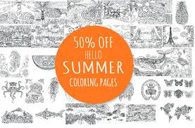 50 off summer coloring pages illustrations creative market