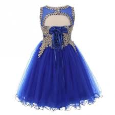 big girls royal blue gold trim wire tulle junior bridesmaid dress