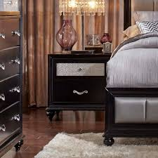coaster barzini 2 drawer nightstand with a metallic acrylic drawer