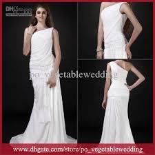 discount vintage beach wedding dress greek goddess ruffle one