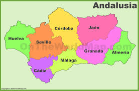 Cordoba World Map by Andalusia Provinces Map