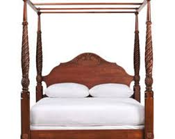 Wood Canopy Bed Frame Queen by Bed Frame Etsy