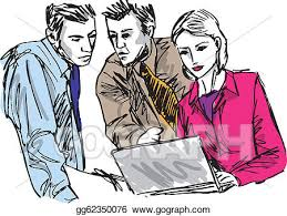 vector clipart sketch of successful business people working with