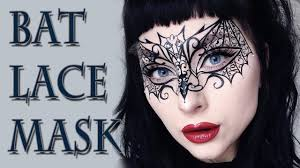 bat lace mask halloween makeup tutorial youtube