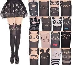 cute stockings japan women cute cartoon animal mock knee high tattoo stocking