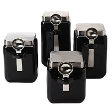 black canister sets for kitchen amazon com oggi ceramic square canister set with stainless steel