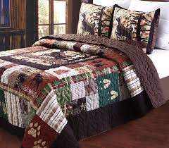 amazon com greenland home 3 piece whitetail lodge quilt set full