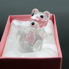 Crystal Baptism Favors 100pcs Blue Pink Clear Crystal Bear For Boy Christening