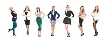 pretty women in business suits and dresses posing isolated on