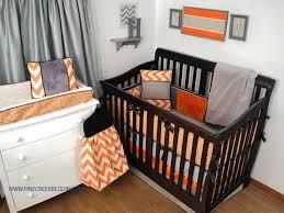 orange chevron crib bedding with black and grey fabrics orange