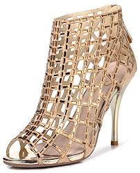 Rhinestone Sandal Heels Littleboutique Embellished Cutout High Heel Bootie Rhinestone