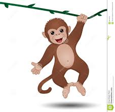 monkey hanging on a branch stock vector image 62213907