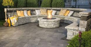 Backyard Brick Patio Design With Grill Station Seating Wall And by Http Unilock Com Wp Content Uploads Mp Image Cache Site 4
