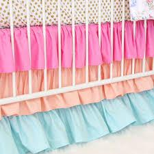 Aqua And Pink Crib Bedding by Olivia Bright Boho Crib Bedding Set By Caden Lane
