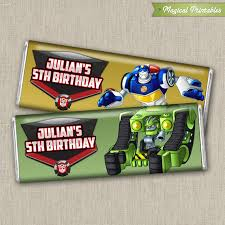 printable transformers birthday banner transformers rescue bots printable regular 1 55 oz hershey s wrappers