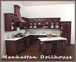 miniature dollhouse kitchen furniture bespaq s s kitchen in mahogany 545 00 manhattan