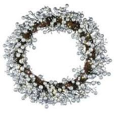 battery operated snowy silver pine artificial wreath with 30 clear